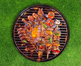 Bilder Fleischwaren Schaschlik Hühnerbraten Tomate Lebensmittel