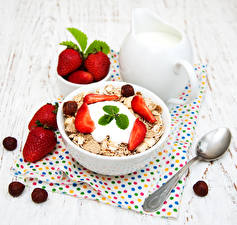 Picture Muesli Strawberry Milk Nuts Oatmeal Wood planks Breakfast Jug container Spoon Food Food