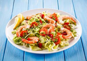 Pictures Salads Vegetables Caridea Wood planks Plate