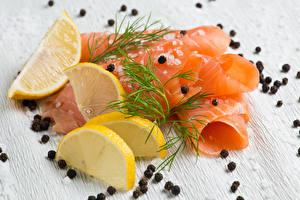 Fotos Meeresfrüchte Fische - Lebensmittel Zitrone Dill Schwarzer Pfeffer