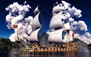 Picture Ship Sailing Clouds 3D Graphics