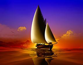 Fotos Schiffe Segeln Meer 3D-Grafik