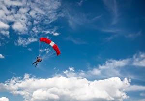 Wallpaper Sky Parachuting skydiving Clouds sports