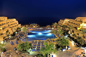 Wallpaper Spain Resorts Building Evening Canary Islands Pools Tenerife Cities