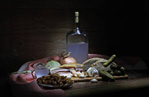 Pictures Still-life Alcoholic drink Bread Cucumbers Mushrooms Garlic Bottle Salo - Food Shot glass Food