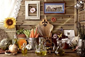 Bilder Stillleben Mohrrübe Sonnenblumen Zwiebel Malerei Kanne Einweckglas Lebensmittel