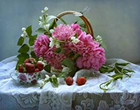 Bilder Stillleben Pfingstrosen Libellen Erdbeeren Tisch Ast Tasse Blumen Lebensmittel
