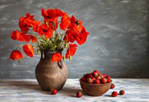 Fotos Stillleben Mohn Erdbeeren Vase Rot Blumen Lebensmittel