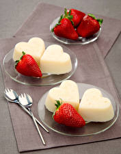 Wallpaper Sweets Ice cream Strawberry Plate Heart Food