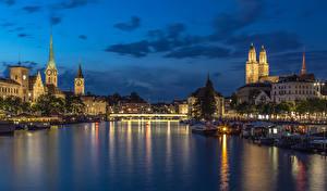 Picture Switzerland Zurich Houses River Bridges Evening Marinas Cities