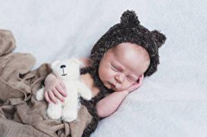 Hintergrundbilder Teddy Säugling Schlafende Mütze Kinder