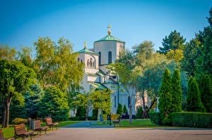 Pictures Temples Church Belgrade Serbia Bush Trees Church Of Savva Serbian