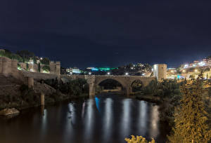 Hintergrundbilder Toledo Spanien Haus Flusse Brücke Nacht