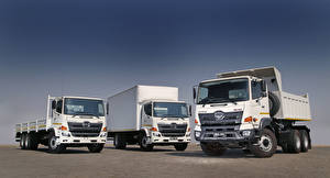 Photo Trucks Three 3 White  Cars