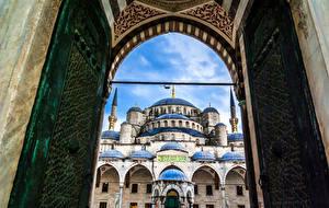 Bakgrundsbilder på skrivbordet Turkiet Istanbul Tempel Moské Blå moskén, Istanbul En grind