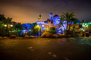 Pictures USA Disneyland Parks Houses California Anaheim HDR Design Night Street lights Fence Cities