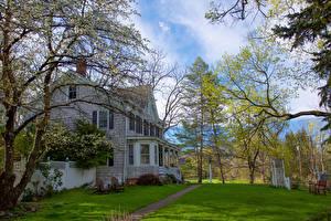 Hintergrundbilder Vereinigte Staaten Haus Blühende Bäume New York City Eigenheim Rasen Pine Island Warwick