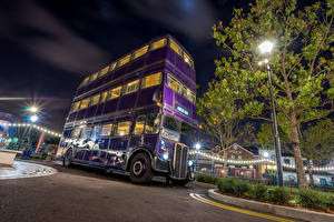 Image USA Parks Disneyland Bus California Anaheim Design HDRI Night Street lights Cities