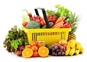 Wallpaper Vegetables Fruit Bananas Grapes Mandarine Pepper White background Wicker basket Jar