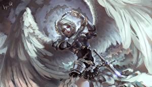 Bilder Engeln Krieger Flügel Rüstung Mädchens
