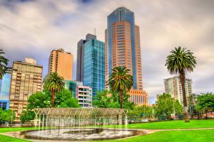 Fotos Australien Melbourne Haus Wolkenkratzer Springbrunnen Palmengewächse