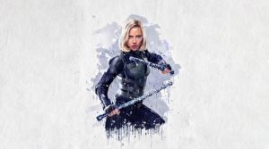 Bilder Avengers: Infinity War Gezeichnet Scarlett Johansson Black Widow Film Mädchens Prominente