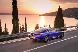 Wallpaper Bentley Blue Coupe Continental GT Blue 2017 auto