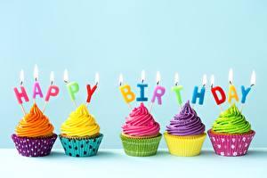 Bilder Geburtstag Cupcake Kerzen Lebensmittel