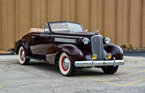 Bilder Cadillac Retro Bordeauxrot Cabriolet Metallisch 1937 Series 60 Convertible Coupe by Fisher Autos