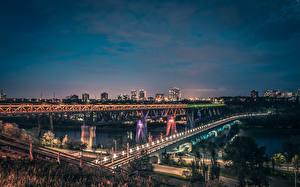 Fotos Kanada Flusse Brücken Straße Abend Straßenlaterne Edmonton Alberta Städte