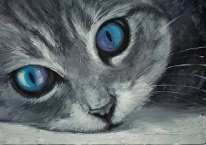 Image Cat Painting Art Eyes Glance Snout Animals