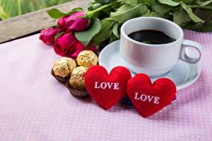 Bilder Kaffee Bonbon Valentinstag Herz Tasse Lebensmittel