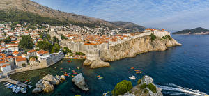 Pictures Croatia Coast Building Berth Dubrovnik Crag