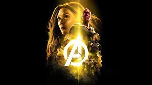 Fonds d'écran Avengers: Infinity War Fond noir Elizabeth Olsen Cinéma Filles Célébrités