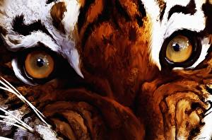 Wallpapers Eyes Tigers Painting Art Closeup animal