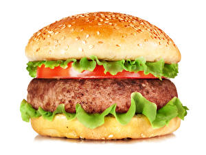 Wallpaper Fast food Hamburger Buns Meat products White background Food