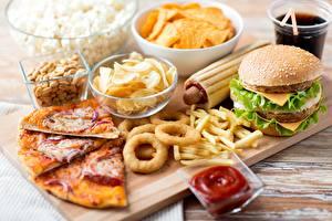Hintergrundbilder Fast food Pizza Hamburger Pommes frites Ketchup