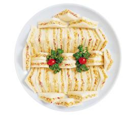 Bilder Fast food Sandwich Viel Tomate Weißer hintergrund Teller Design Lebensmittel