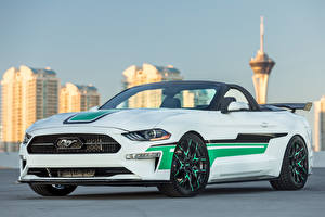 Photo Ford White Cabriolet 2018 MAD Industries Mustang Convertible Cars