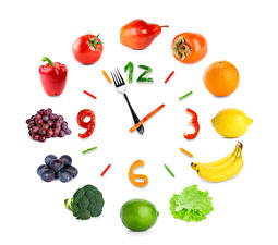 Wallpaper Fruit Vegetables Clock Creative Tomatoes Lime Grapes Bell pepper Lemons Bananas Orange fruit Pears Plums Kaki Clock face White background Fork Food