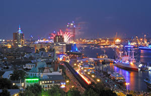 Images Germany Hamburg Houses Berth Ships Evening Bay Cities