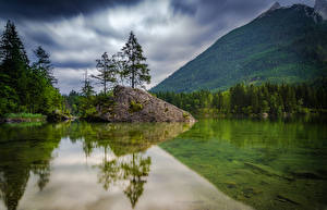 Pictures Germany Mountain Forest Lake Landscape photography Trees Hintersee Nature