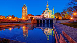Image Germany Temple Church Swimming bath Night time Street lights Darmstadt Cities