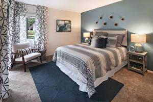 Wallpapers Interior Design Bedroom Bed Wing chair