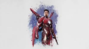 Picture Iron Man hero Avengers: Infinity War Gray background Movies