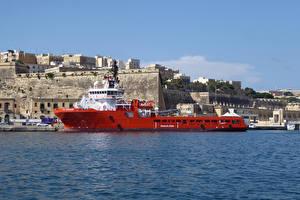Picture Malta Houses Marinas Ships Bay Valletta Cities