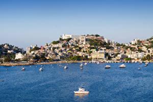 Photo Mexico Houses Marinas Powerboat Bay Hill Acapulco Cities