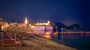 Bilder Montenegro Haus Schiffsanleger Strände Nacht Sonnenliege Budva Städte