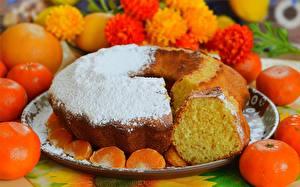 Hintergrundbilder Obstkuchen Mandarine Puderzucker