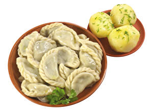 Hintergrundbilder Wareniki Kartoffel Weißer hintergrund Teller Lebensmittel